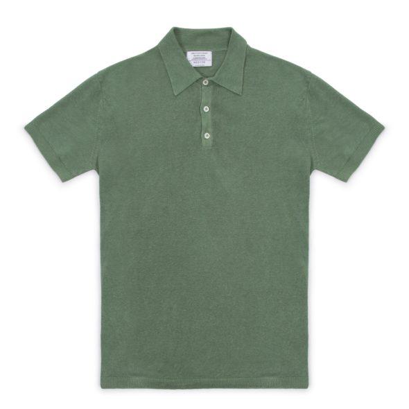 Sage Green Linen Short Sleeved Polo