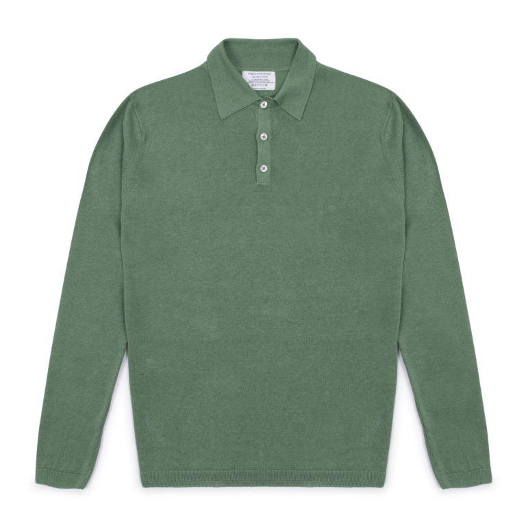 Sage Green Long Sleeved Linen Polo