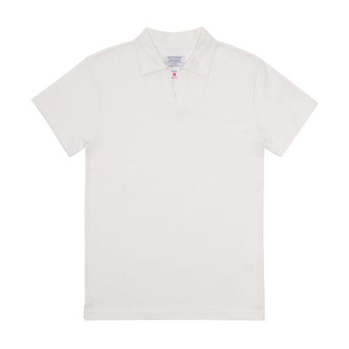 White Cotton Cuban Collar Polo Shirt