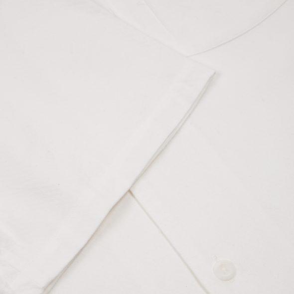 White Cotton One Piece Cuban Collar Shirt