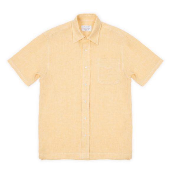 Yellow Linen Short Sleeved Shirt
