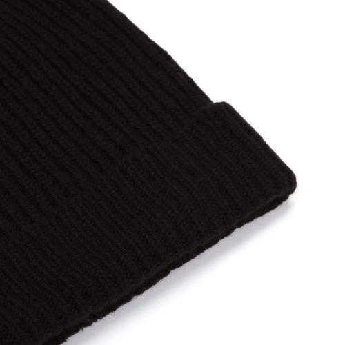 Black Ribbed Cashmere Hat