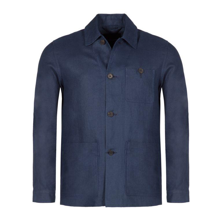 Indigo Washed Linen Work Jacket