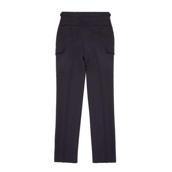 Navy Cotton Linen Blend Cargo Pants