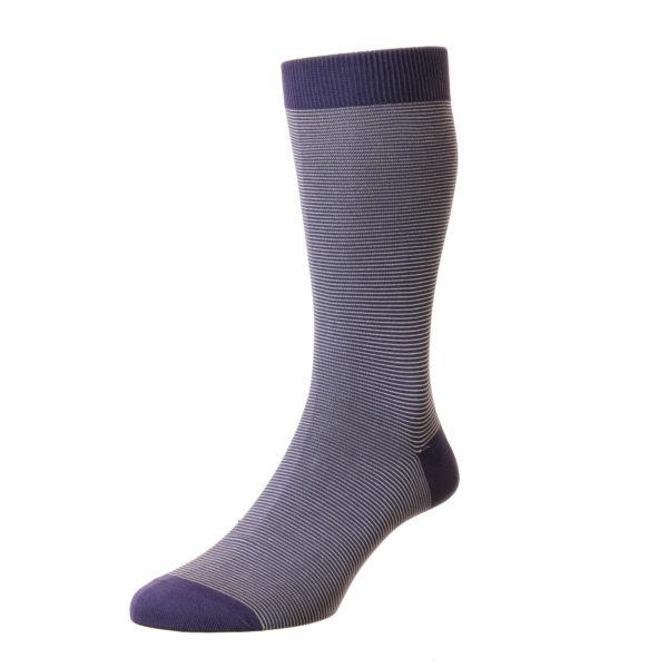 Blackberry Micro Stripe Pattern Cotton Socks