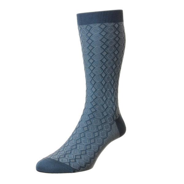 Blue Textured Diamond Pattern Cotton Socks