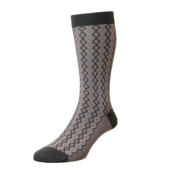 Dark Grey Textured Diamond Pattern Cotton Socks
