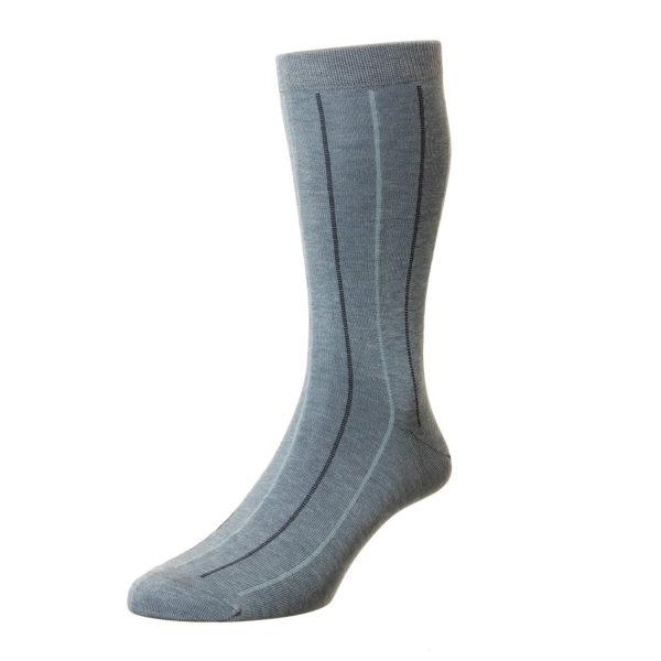 Denim 2 Tone Pinstripe Pattern Cotton Socks