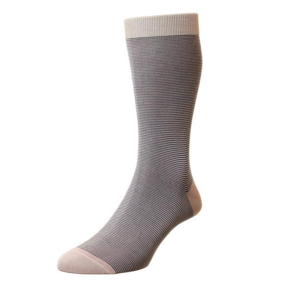 Dusky Pink Micro Stripe Pattern Cotton Socks