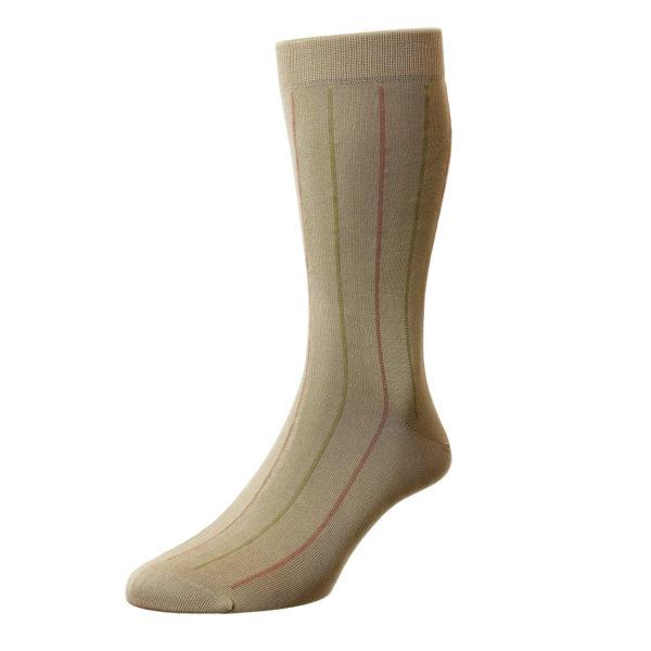 Khaki 2 Tone Pinstripe Pattern Cotton Socks