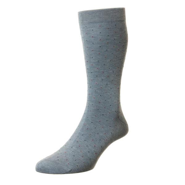 Light Denim 2 Tone Pindot Pattern Cotton Socks