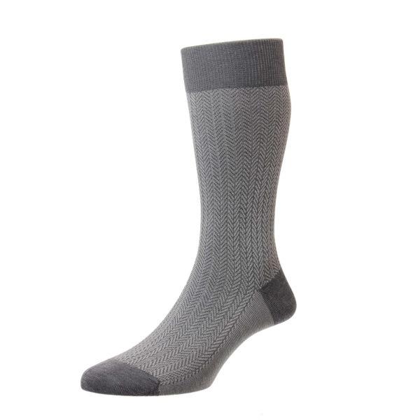 Mid Grey Herringbone Pattern Cotton Socks
