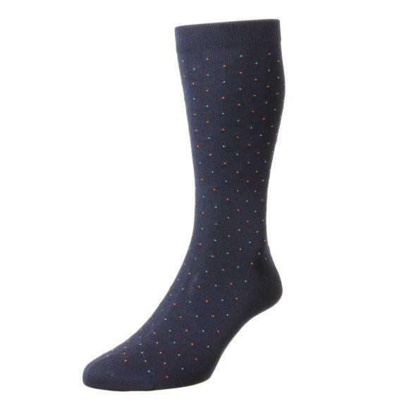 Navy 2 Tone Pindot Pattern Cotton Socks