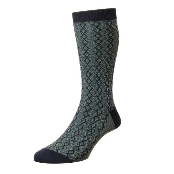 Navy Textured Diamond Pattern Cotton Socks