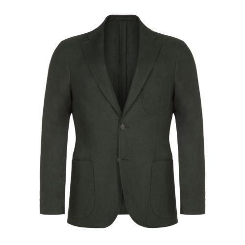Dark Eucalyptus Green Washed Programme Linen Jacket