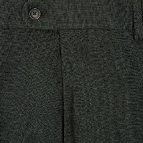 Dark Eucalyptus Green Washed Programme Linen Trouser