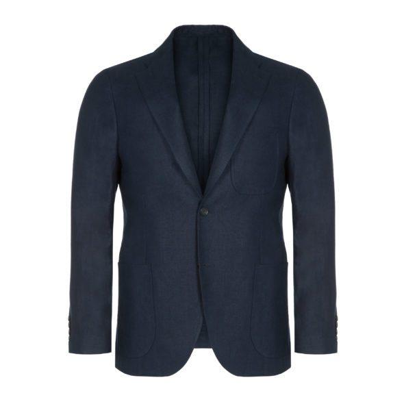 Navy Blue Washed Programme Linen Jacket