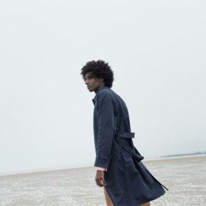 Navy Blue Cotton Linen Belted Coat