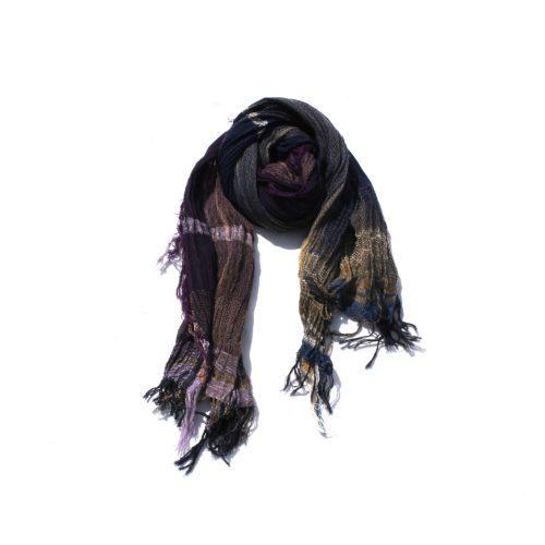 Purple Tamaki Niime Cotton Shawl