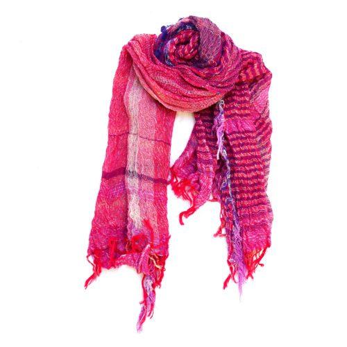 Fuchsia Pink Tamaki Niime Cotton Shawl