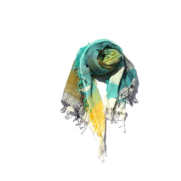 Turquoise Tamaki Niime Cotton Shawl