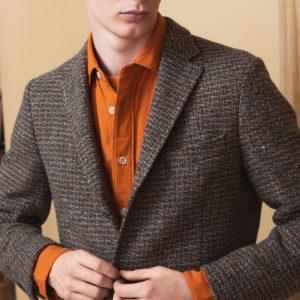 Burnt Orange Double Faced Cotton Overshirt