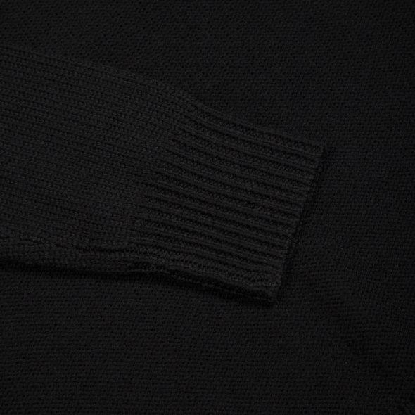 Black Merino Wool Reverse Stitch Roll Neck