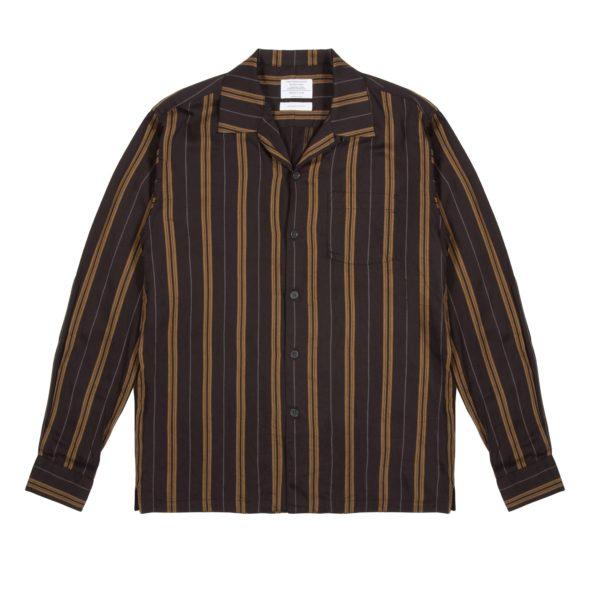 Black and Mustard Striped Cuban Collar Shirt