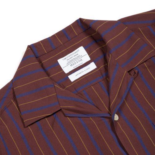 Burgundy and Blue Striped Cuban Collar Shirt