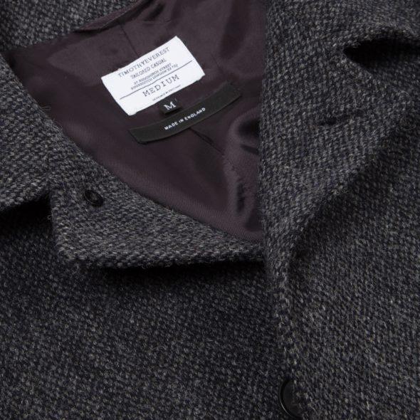 Grey Barleycorn Wool Raglan Coat