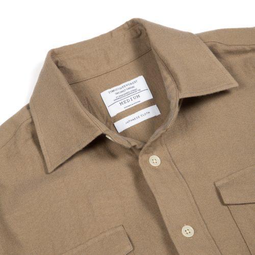 Mink Coloured Cotton Wool Twill Overshirt