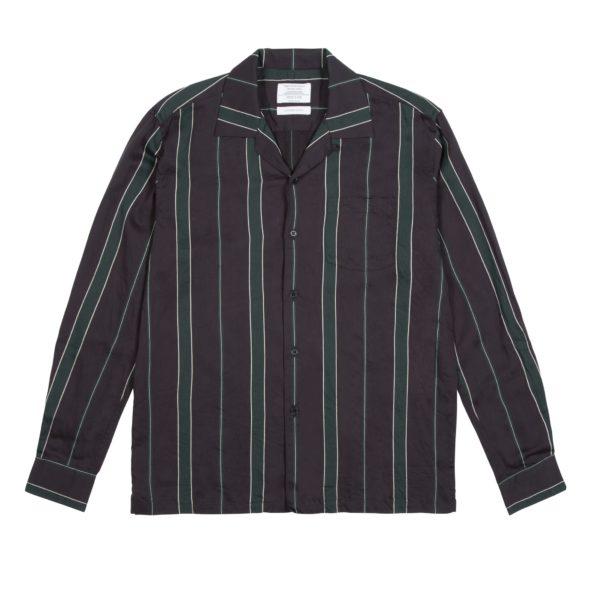 Navy and Green Striped Cuban Collar Shirt