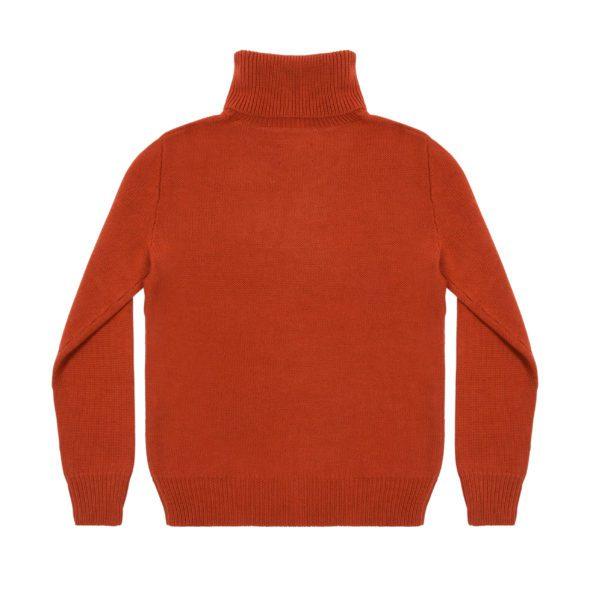 Furnace Red Merino Wool Reverse Stitch Roll Neck
