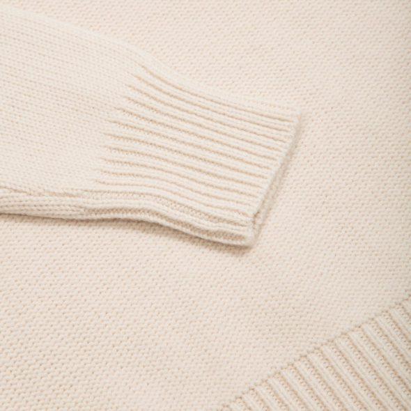 Ivory Merino Wool Reverse Stitch Roll Neck