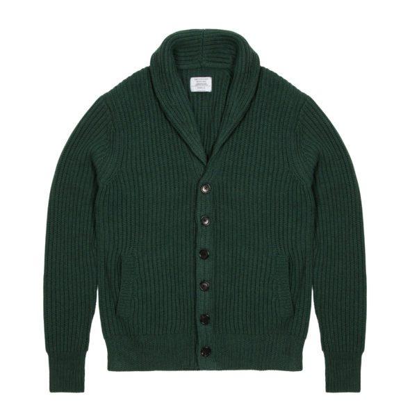 Pine Green Ribbed Shawl Collar Cardigan