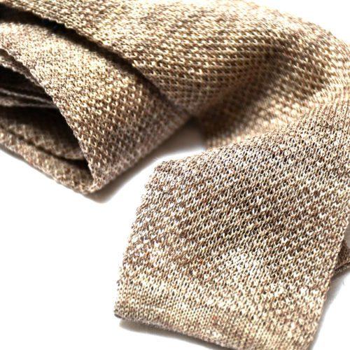 Cream Linen Knitted Tie