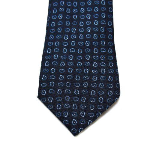 Navy Paisley Pattern Silk Tie