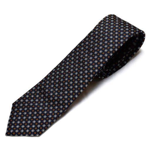 Navy Pattern Silk Tie