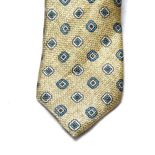 Cream Pattern Silk Tie