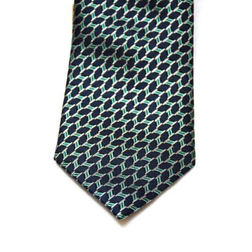 Navy/Teal Pattern Silk Tie
