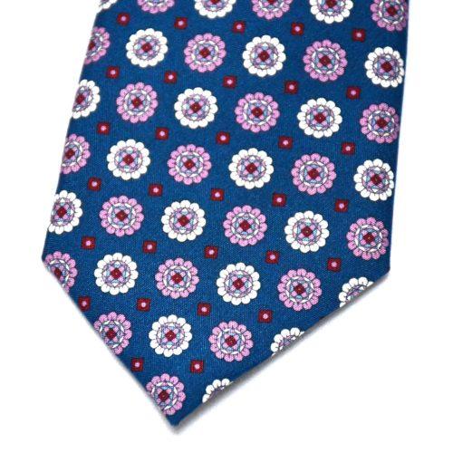 Blue Floral Motif Pattern Silk Tie