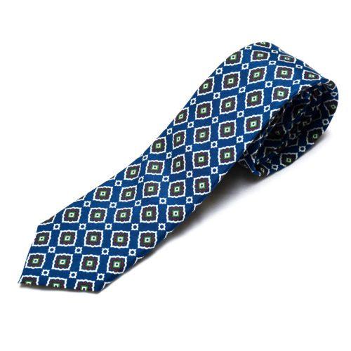Blue Motif Pattern Silk Tie