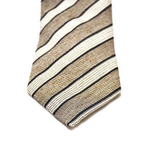 Brown Club Stripe Grenadine Silk Tie