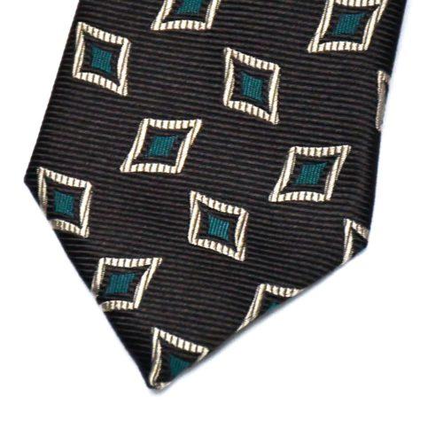 Brown Diamond Pattern Silk Tie