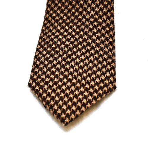 Brown Dogstooth Wool/Silk Tie