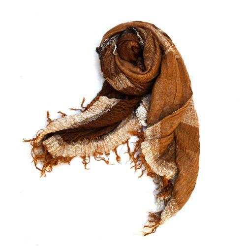 Brown Tamaki Niime Large Roots Cotton Scarf