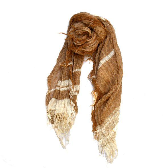 Brown Tamaki Niime Roots Cotton Scarf