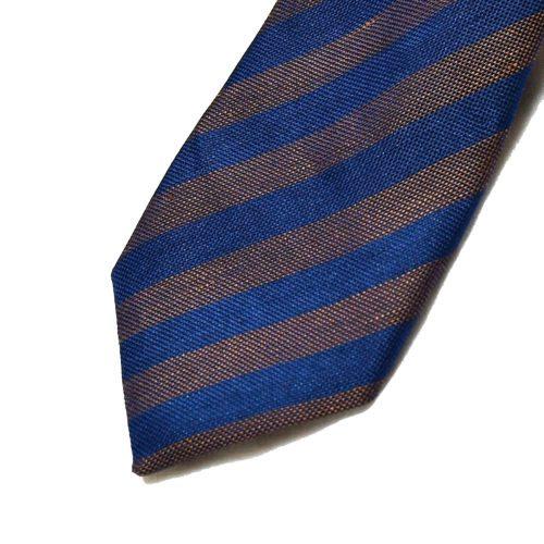 Brown/Navy Club Stripe Silk Tie