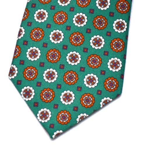 Green Floral Motif Pattern Silk Tie