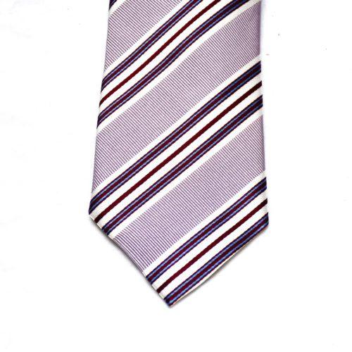 Lavender/Blue Club Stripe Silk Tie